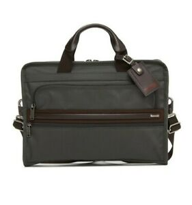 New Authentic TUMI SLIM DELUXE PORTFOLIO Gray Brown Men's BRIEFCASE Bag