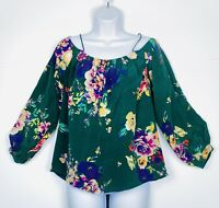Maeve Anthropologie Womens Size Small Cold Shoulder Blouse Green Floral Silk