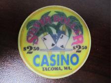 $2.50  Yellow SILVER DOLLAR CASINO Chip Tacoma WA Two Dollars 50 Cents