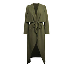 Womens Ladies Maxi Long Sleeve Belted Duster