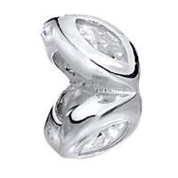MATERIA 925 Silber Beads Zirkonia Anhänger weiß Flug für Beads Armband / Kette