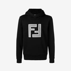 Fendi Mesh FF Logo Hoodie - Black with White Details
