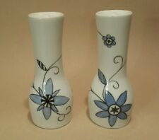 Pair Royal Worcester Salt Pepper Pots Hand Painted Blue Black Floral 1968 Retro