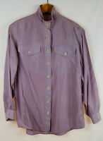 BB COLLECTION Damen Seiden Bluse, Vintage, flieder, Schulterpolster, Größe 40