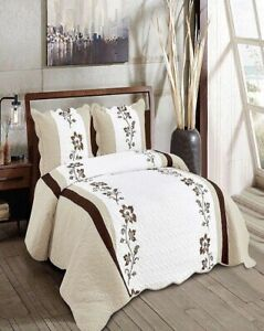 DANNA FLOWERS LIGHT BROWN EMBROIDERED BEDSPREAD COVERLET SET 3 PCS KING SIZE