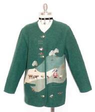 """LODEN BOILED WOOL Sweater JACKET Women German WINTER Warm Cardigan B43"""" 12 M"""