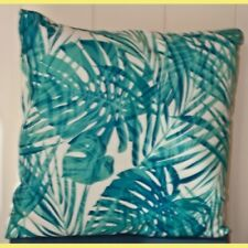 Cushions, 2 x prints, green leafy designs, 7 in total, complement each other