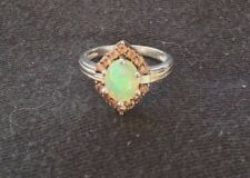 Ethiopian Opal with Multicolor Tourmaline and White Zircon Silver Ring