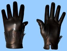 NEW MENS size 7 or 2XS GENUINE BLACK LAMBSKIN FRINGE CUFF LEATHER GLOVES