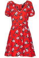 Topshop Red Floral Holly Print V-Neck Vintage Summer Skater Tea Dress UK8 36 US4