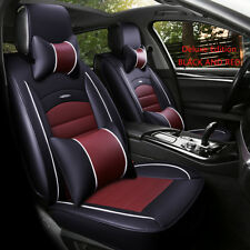 Deluxe Car Seat Cover 5 Seats PU Leather Full Sets Front Rear Cushion Pillow Pad