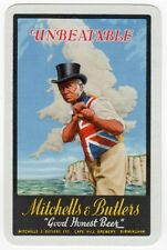 Playing Cards 1 Swap Card Old MITCHELLS & BUTLERS Beer BOXING Top Hat Man Coast