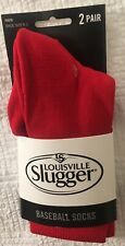 Louisville Slugger Youth Baseball Socks - 2 Pair - Red - Youth Size 9-1