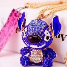 Betsey Johnson Necklace  LILO AND STITCH Royal Blue Stitch With Crystals