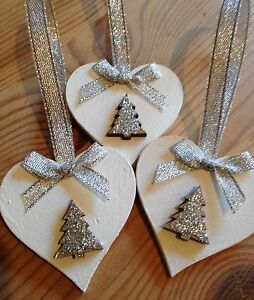 3 X Handmade Christmas Decorations Shabby Chic Wood Heart Tree Bows Silver
