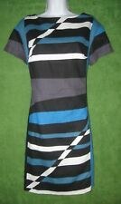 Derek Lam Teal Blue Black White Geo Linen Cotton Shift Work Dress 14 $100 MISC