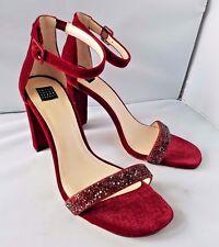 White House Black Market Penni Red Velvet Evening Shoes Strappy Formal Heels 10