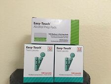 Easy Touch Lancets 32G 200CT, 100CTX2 Boxes-Easy Touch Medium Alcohol Pads 100CT