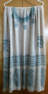 Big 76 x 38# Summer Scarf or Wrap, Magical Writing in Blue on Tan