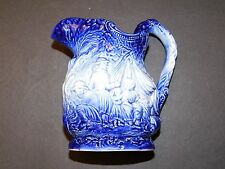 BURLEIGH IRONSTONE reproduction of a Victorian Blue Carafe Gypsy Camping Design