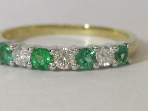 Emerald and Diamond half hoop eternity ring 9ct yellow gold