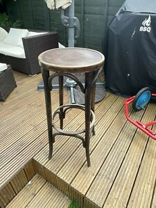 Antique 80 cm tall 37 cm across bamboo Bar stool MADE IN ROMANIA ? Man cave
