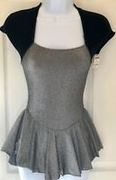 GK ICE FIGURE CAP SLV BLACK ADULT SMALL SILVER LUREX BLACK VELVET SKATE DRESS AS