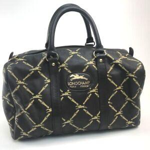 Longchamp Grid pattern Hand Bag mini boston Duffle Bag Leather Brown/Beige