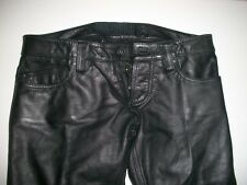 HIPSERVICE Black Genuine Leather Pants Made In Pakistan 28W x 33L