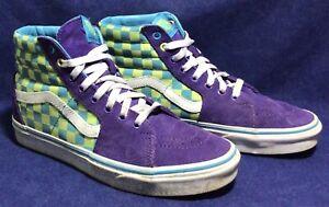 Purple Suede VANS SK8 HI Sz M 7.5 / W 9 Checkerboard Shoes Hi-Tops