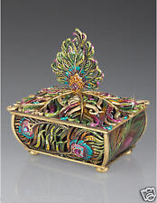 Jay Strongwater Peacock Feather Jewelry Box with Crystals