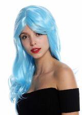 Peluca de Mujer Largo Ligero Ondulado con Raya Azul Claro GFW2247