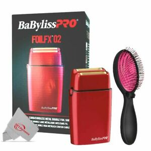 BaByliss PRO FOILFX02 Cordless Metal Red Double Foil Shaver with Wet Brush