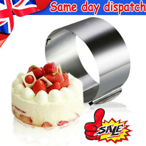 """Adjustable 6-12""""Cake Ring Mold Round Mousse Mould Stainless Steel Baking Tool UK"""