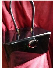 VINTAGE WILARDY SHINY BLACK LUCITE PURSE WITH CLASSIC SILVER METAL CLASP!!