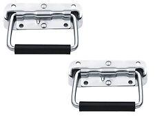 2 X Steel Spring Loaded Handle Carry DJ Speaker Case Box Flight Case Chest