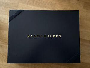 Ralph Lauren Blue Gift Box Includes Tissue Paper Gold Sticker Elastic Ribbon New