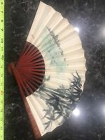 Vintage Chinese Oriental Hand Painted Folding Paper Wall Fan Decor 18 inches