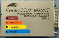 Allied Telesyn CentreCOM MX20T Twisted Pair Transceiver IEEE 802.3 10 Base T.