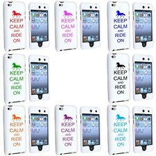 iPod Touch 4th Generation White 2 Piece Hard Case Cover Keep Calm Ride On Horse