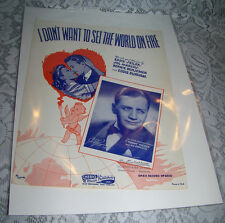 Vintage Old Paper Sheet Music 1941 I DON'T WANT TO SET THE WORLD ON FIRE