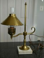 Vintage Brass Desk Student Lamp with Glass Flute Brass Shade Marble Base