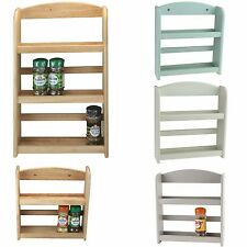 Spice Rack 2 / 3-Tier Holder Herbs Jars Stand Wooden Wood Kitchen Storage Wall