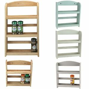 Spice Rack 2 / 3-Tier Holder Herbs Jars Stand Wooden Wood Kitchen Storage Wall