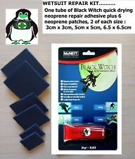 Black Witch Neoprene Wetsuit Repair Kit. Quick drying adhesive. 6 Neoprene Patch