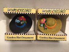 Mary Engelbreit Lot of 2 Miniature Garden Hat Ornaments New