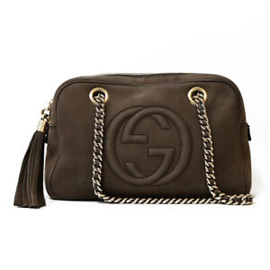 GUCCI Shoulder Bag Brown Soho Chain Interlocking from japan