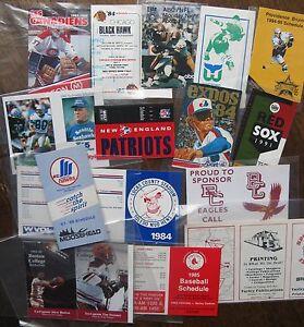 (16) Pocket Schedules 1980's-1990's: Baseball, Hockey, Football, Basketball