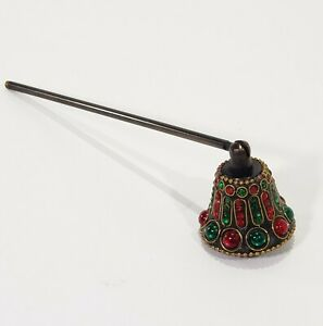 """Candle Snuffer India Red Green Stones Beads 8.75"""" Swivel Head Brown Metal"""