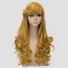 For Princess Aurora Long Golden Yellow Curly Hair Women Cosplay Wig Halloween